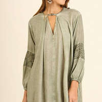 Washed Dress with Keyhole Neckline and Lace Details - Sage