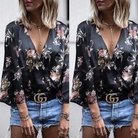 CREYLD1 2018 Long Sleeve Women's Shirts V Neck Floral Printed Casual Blouse Tops Flower Fitness Women Top Winter Women Clothing