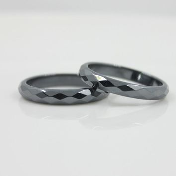 Fashion Grade AAA Quality 4 mm Width Faceted Hematite Rings (1 Piece)  HR1001