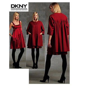 Vogue COAT DRESS Pattern Flared Coat Empire Waist Dress Donna Karan DKNY American Designer Vogue 1074 Bust 36 38 40 42 UNCuT Sewing Patterns