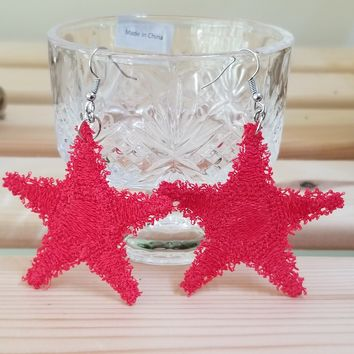 Embroidery Starfish Earrings