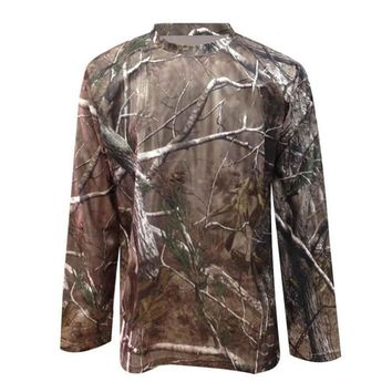 Men/Women Outdoor Bionic Camouflage T-Shirt Long Sleeve Wear-Resistant Quick Dry Tee Hunting Shooting Military Tactical Tops