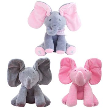 New Style Peek a Boo Elephant Stuffed Animal Plush Toy Play Music Elephant Doll Educational Anti-Stress Toy for Kids Children