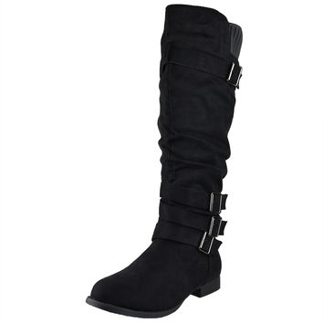 Womens Knee High Boots Ruched Four Buckles Suede Knitted Calf Black SZ