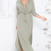 Under Cover Maxi Dress in Khaki