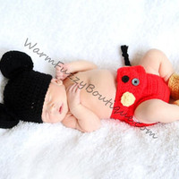 Baby Mickey Mouse Inspired Costume Set Hat Diaper Cover Booties - Crochet Winter Outfit Newborn Boy Girl Halloween  Photo Prop