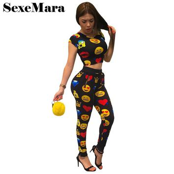 Emoji Print Women Tracksuit 2017 Summer Two Piece Set Crop Top and Pants Suit Cute Jogger Set Casual Sweat Suits D36-AE18