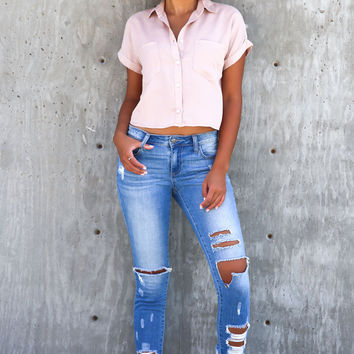 Cascades Blush Crop Top