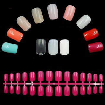 0042- Options 24pcs /Set Acrylic Full Cover Nail Tips False Nail Art With Glue Artificial Pre Designed Fake Nails Tips 25 Colors