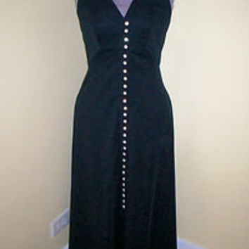 Sexy Vintage Women's 1970s Black Polyester Maxi Dress 34 Bust Rhinestone Buttons