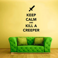 Wall Vinyl Sticker Decals Decor Art Words Sign Quote Keep Calm Minecraft Play Creeper Sword Video Game (z2592)