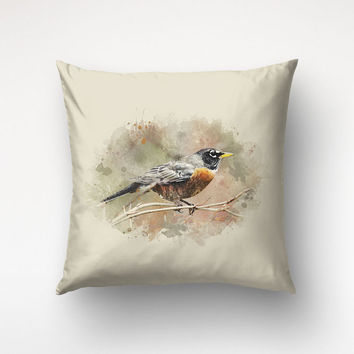 Bird Illustration Pillow Case, Watercolor Art, Throw Pillow Sofa, American Robin