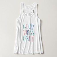 Good Vibes Only - Colorful Watercolor Typography Tank Top