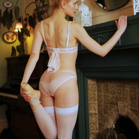 Pink bridal panties in sheer pink mesh and floral lace, hand finished with guipure lace details - EMILY lace briefs
