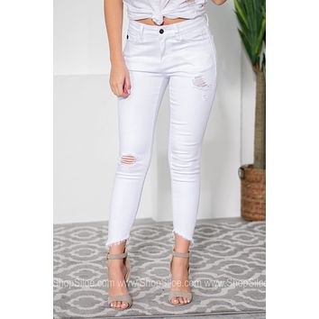 White Versatile Distressed Frayed Denim Jeans
