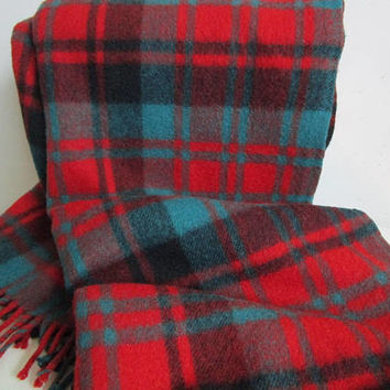 AYERS 80s Wool Blanket Vintage ROBERTSON Clan Tartan Red Turquoise Camp Cottage Throw W-Fringe