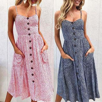 Women Printing Flowers Dress Sexy Floral Girls Buttons Off Shoulder Sleeveless Princess Maxi Dresses Sexy suspender button dress