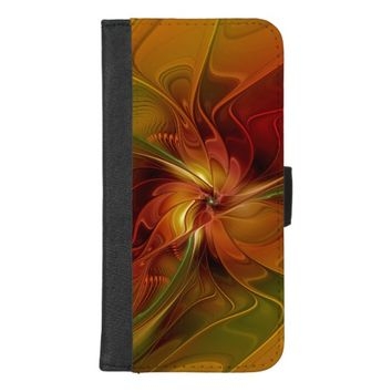 Abstract Red Orange Brown Green Fractal Art Flower iPhone 8/7 Plus Wallet Case