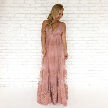 Mauve With Me Floral Maxi Dress