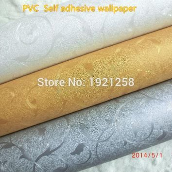 0.6*5m pvc Self Adhesive  Wallpaper Vinyl Rolls Wall Paper  Waterproof  living room bedding room household wallpaper for walls
