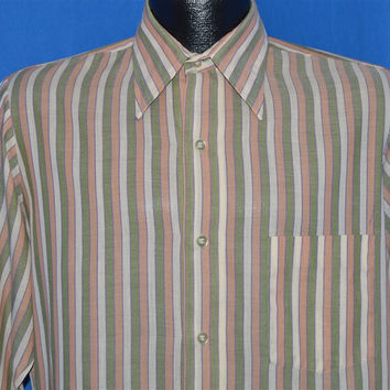 70s Brown Green Peach Striped Shirt Large