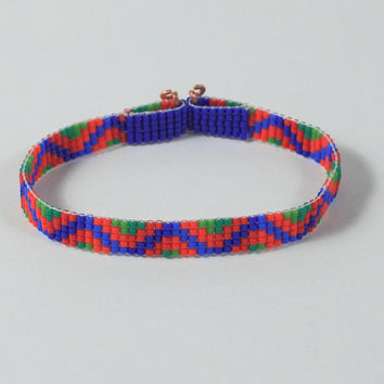 Bright and Bold African Bead Loom Bracelet