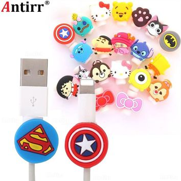 Cute Cartoon USB Charger Cable Winder Protective Case Earphone Cord Sleeve Wire Cover Data line Protector For iphone 7 8 plus
