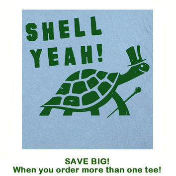 Shell Yeah T Shirt Party Funny T Shirt Top Hat by Shirtmandude