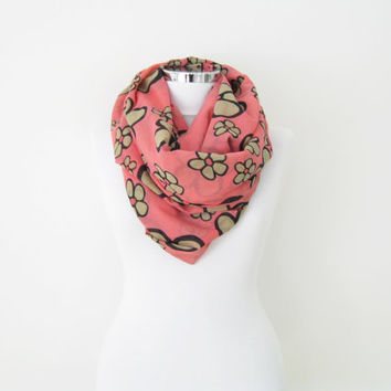 Pink floral infinity scarf, light summer circle scarf