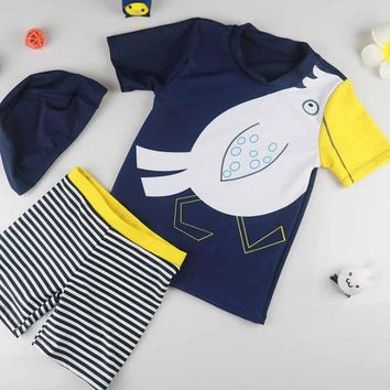 Swimsuit For Kids Summer Beachtwo Pieces Blue Sunscreen Swimming Suit Seasides Boys Cartoon Parrot Swimwear With Cap