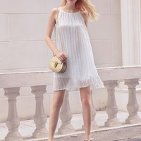 White Pleated Chiffon Dress B007737