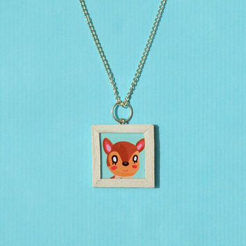 Animal Crossing Picture Frame Necklace - Choose any villager from Animal Crossing New Leaf, Handmade to Order