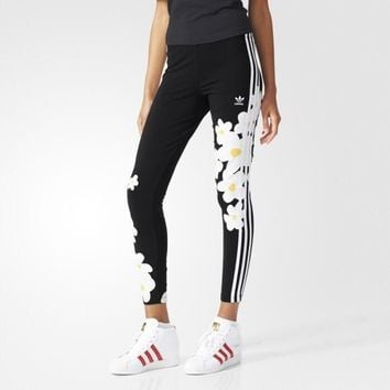 Fashion Adidas Flowers Print Tight stretch Exercise Fitness Gym Yoga Running Leggings Sweatpants