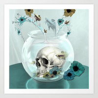 Looking glass skull Art Print by Kristy Patterson Design