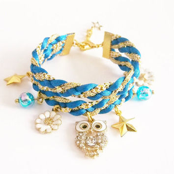 Diamond owl blue,gold bracelet / woven bracelet / braided bracelet / statement bracelet / arm party /friendship bracelet / blue jewelry