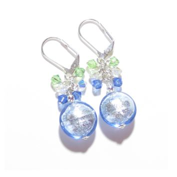 Murano Glass Blue Green Cluster Dangle Silver Earrings