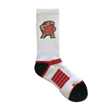 Strideline 2.0 Maryland Terrapins White Crew Socks