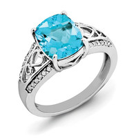 Sterling Silver Diamond & Cushion Cut Swiss Blue Topaz Ring
