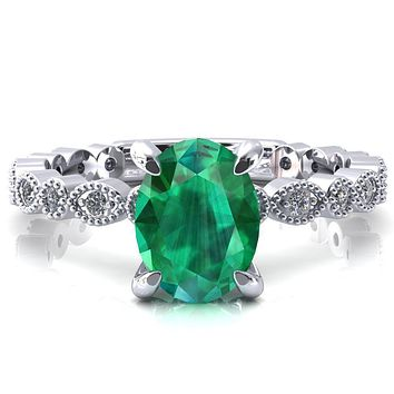 Polaris Oval Emerald 4 Claw Prong Diamond Halo Full Eternity Engagement Ring