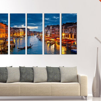 LARGE Wall Art Venice Nights and Venice Gondols  Canvas Art, Prints For Wall, 5 Panels Italy Prints On Canvas, 100% Quality Prints