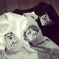 cat in pocket t shirt 2017 spring summer casual rip n dip t shirt men women students love funny ripndip t shirt
