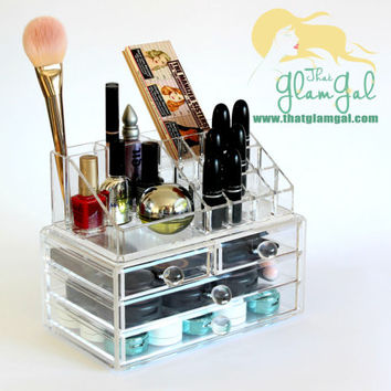 Acrylic Makeup Organizer, Combined Storage Drawers with Make Up Display Stand Lipstick Holder Two Tier Stackable FREE shipping worldwide!