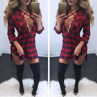 New Women Red Plaid Cut Out Drawstring Band Collar Long Sleeve Fashion Mini Dress