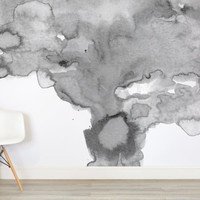 Soft Gray Watercolor Wall Mural - Murals Wallpaper