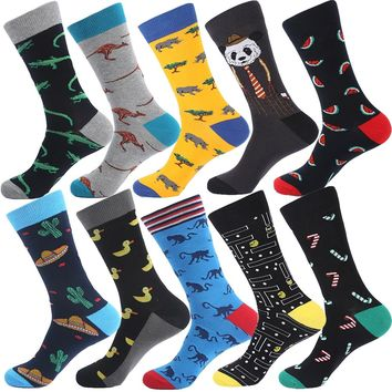 VPM 5 Pairs/Lot Colorful Men's Dress Socks Novelty Alien Animal Cactus Flag Cotton Art Funny Happy Harajuku Hip Hop Warm for Men