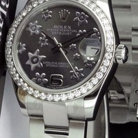 ROLEX 31mm MidSize 18kt White Gold/SS DateJust Silver Floral 178384 SANT BLANC