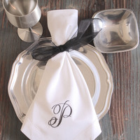 Rachael Monogrammed Embroidered Cloth Napkins - Set of 4 napkins