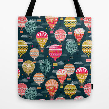 Hot Air Balloons - Retro, Vintage-inspired Print and Pattern by Andrea Lauren Tote Bag by Andrea Lauren Design