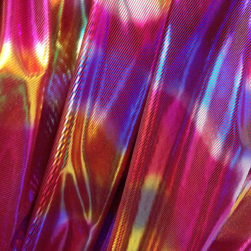 Shiny Multi colour Rainbow Foil celebrity dress fashion fancy dress supplies Sewing dress FABRIC - Per Metre