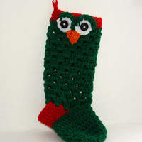 Green Christmas stocking Ready to Ship